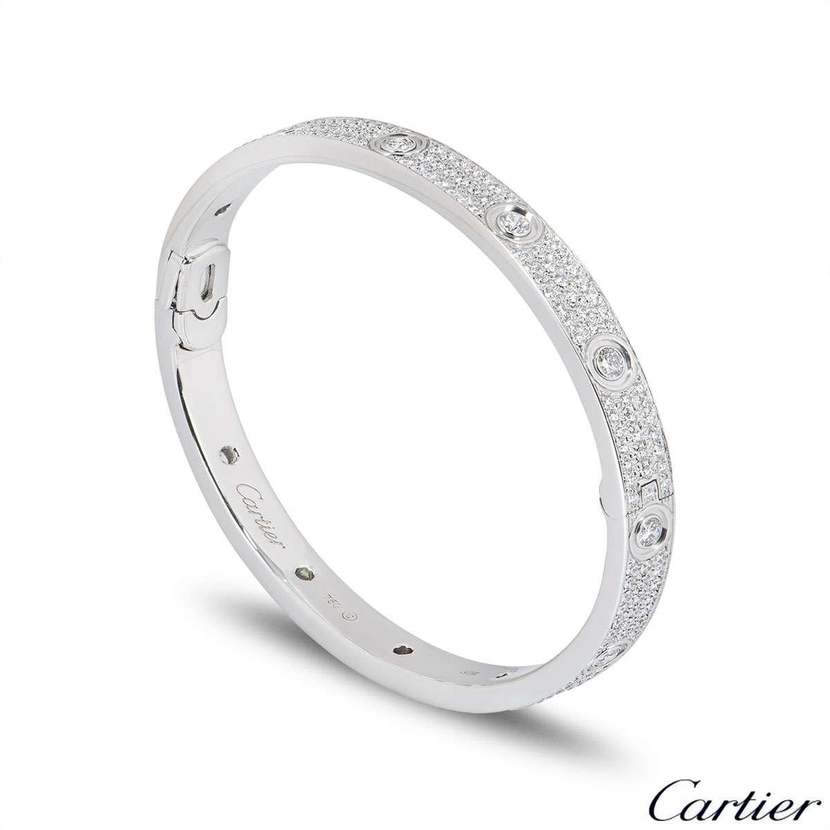 Cartier White Gold Pave Diamond Love Bracelet Size 18 N6033602